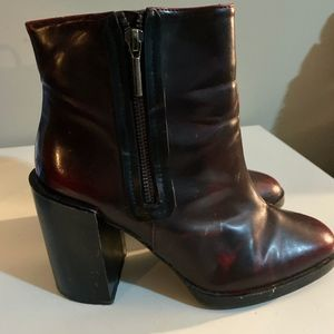 Platform Ankle Boots with Zip Patent Faux Leather